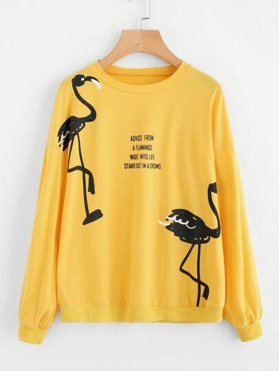Camisa de hombro caído con flamenco