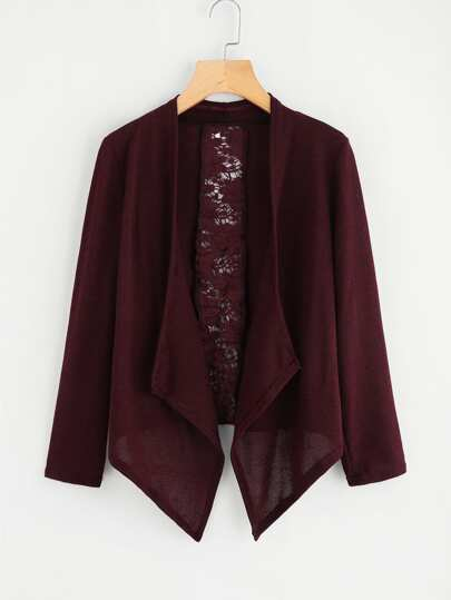 Hollow Out Crochet Panel Marled Knit Cardigan
