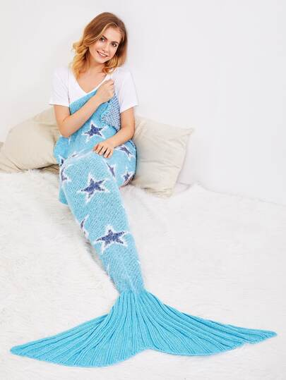 Star Pattern Fish Tail Design Mermaid Blanket