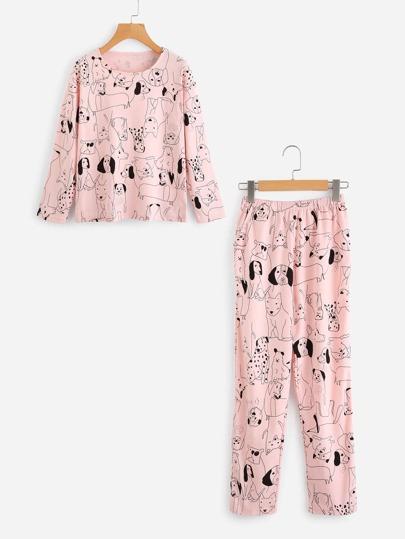 Dog Print Top And Pants Pajama Set