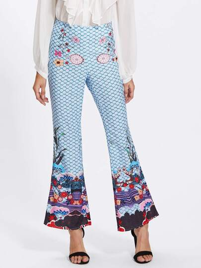 Mixed Print Flared Pants