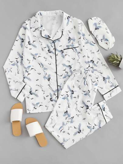 Crane Print Contrast Piping Pajama Set