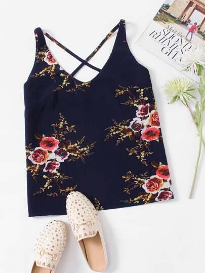 Top à bretelle floral croisé