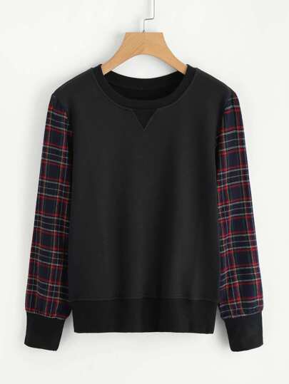 Gingham Sleeve 2 In 1 Pullover