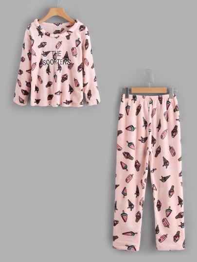 Ice Cream Print Pajama Set