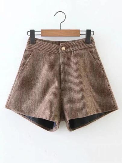 Shorts côtelé en cuir velours