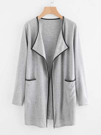 Contrast Trim Double Pockets Lapel Coat