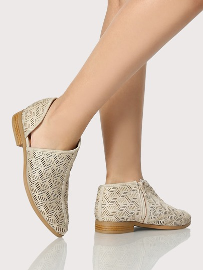 Point Toe Cut Out Distressed Flats STONE