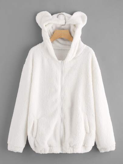 Faux Shearling Hooded Bear Coat