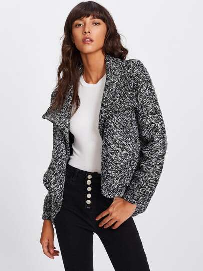 Waterfall Marled Knit Coat