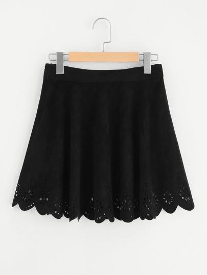 Модная замшевая юбка с узором и фестонами