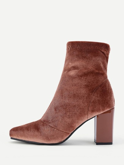 Pointed Toe Block Heeled Velvet Ankle Boots