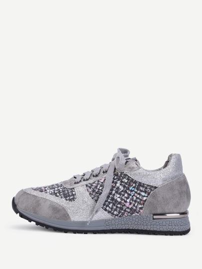 Zapatos con detalle tweed con cordón