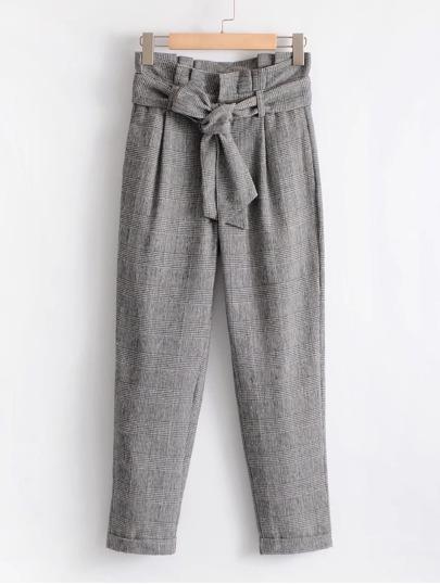 Ruffle Trim Self Tie Glen Plaid Pants