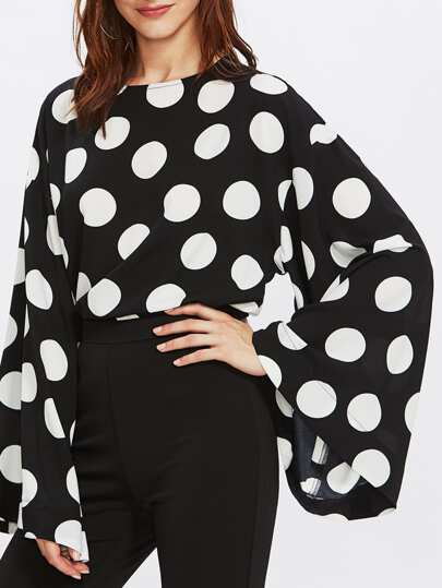 Exaggerated Trumpet Sleeve Keyhole Back Polka Dot Top