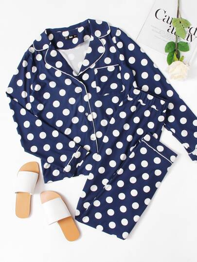 Revere Collar Polka Dot Blouse And Pants Pajama Set