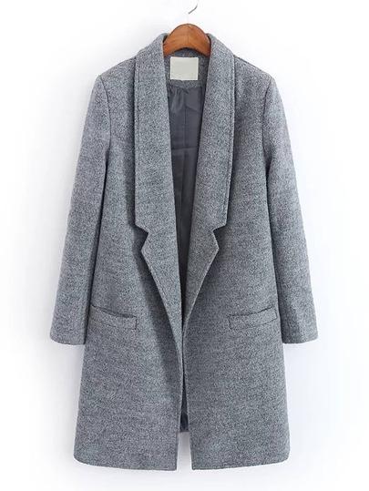 Abrigo de mezcla de lana con solapa de muesca