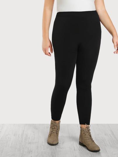 High Rise Strethch Knit Leggings BLACK