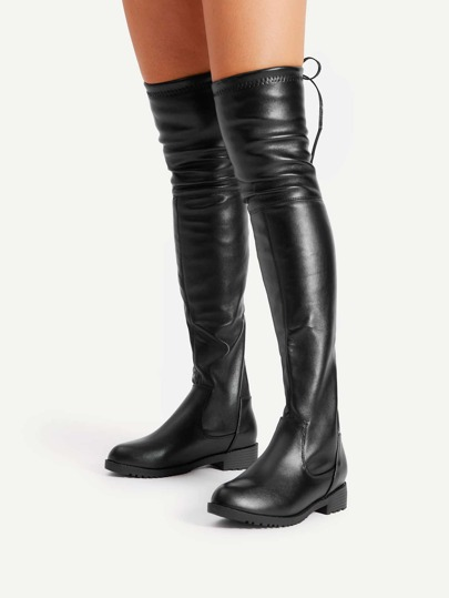 Bottes au genou en PU à lacets