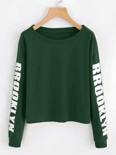 Sweat-shirt court imprimé alphabet avec la chute de l\'épaule