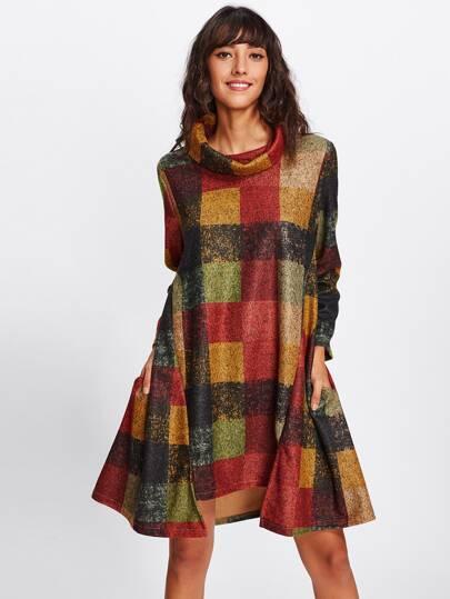Robe tartan avec pan asymétrique