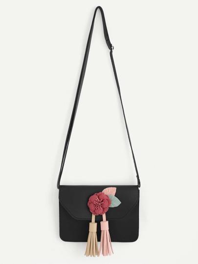 Tassel & Flower Detail Crossbody Bag