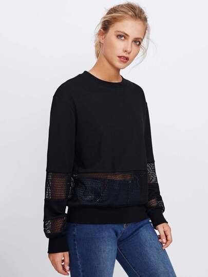 Solid Sweatshirt und Sport Netzstoff