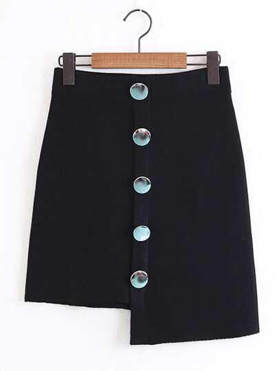Button Design Asymmetrical Knit Skirt