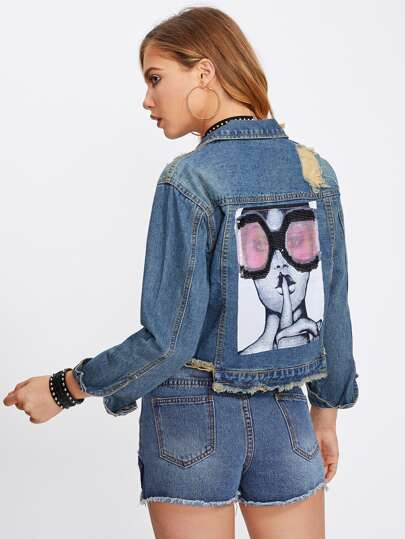 Bleach Wash Sequin Back Frayed Denim Jacket