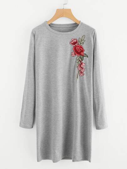 Embroidered Applique Marled Tee Dress