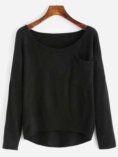 Jersey asimétrico con bolsillo - negro
