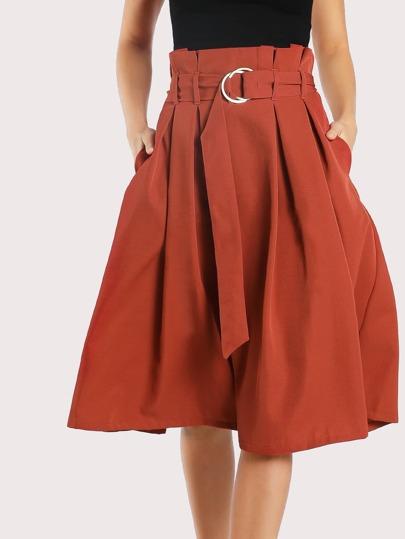 Pleated O Ring Midi Skirt RUST