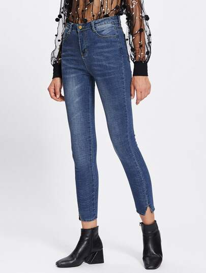 Cut Out Hem Skinny Jeans