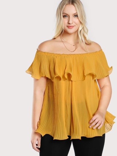 Off Shoulder Pleated Flowy Top MUSTARD