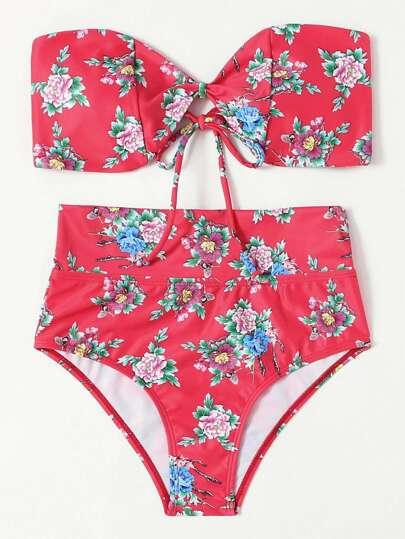 Conjunto de bikini bandeau con estampado