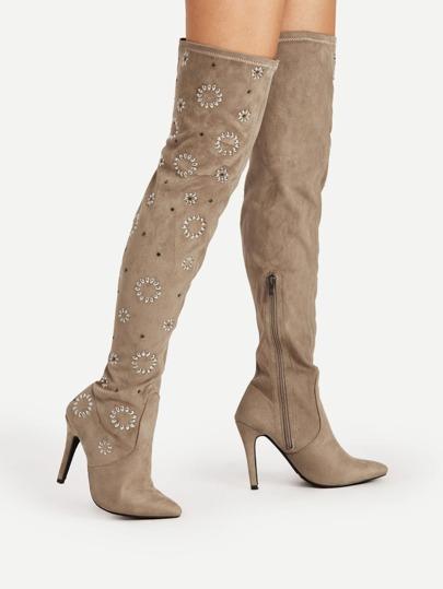 Rhinestone Flower Point Toe Thigh High Boots