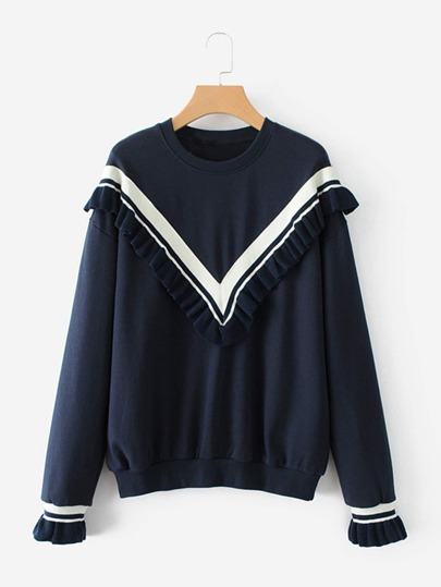 Knit Chevron Insert Sweatshirt