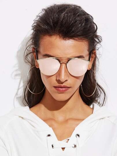 Top Bar Mirror Lens Sunglasses