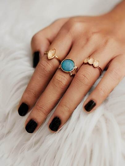 Gemstone Ring Set 3pcs