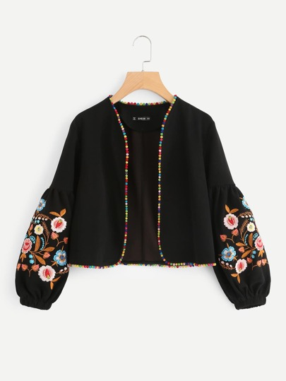Embroidered Bishop Sleeve Pompom Trim Jacket