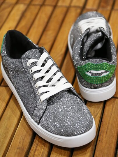 Classic Lowtop Lace Up Glitter Sneakers PEWTER