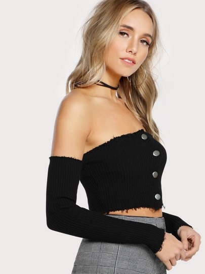 Button Up Long Sleeve Crop Top BLACK