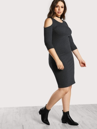 Open Shoulder Rib Knit Dress