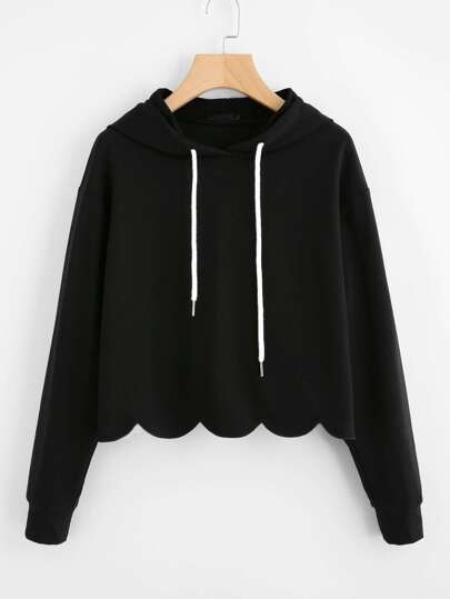 Drop Shoulder Scallop Hem Hoodie