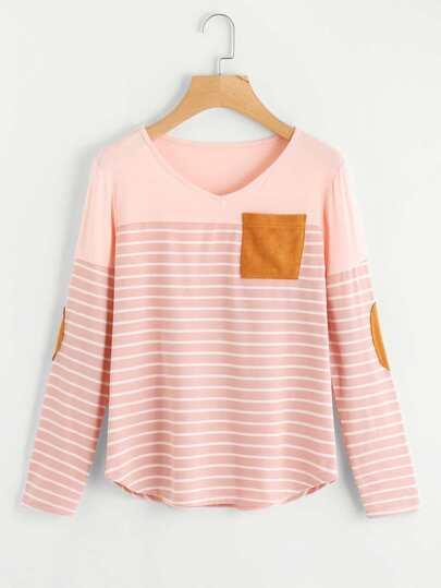 Camiseta a rayas de bajo irregular con parche al codo