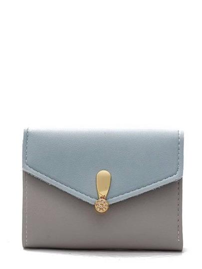 حقيبة لونين من ازرق و ابيض جلد فرو مع فسيفساء ربط المعادن