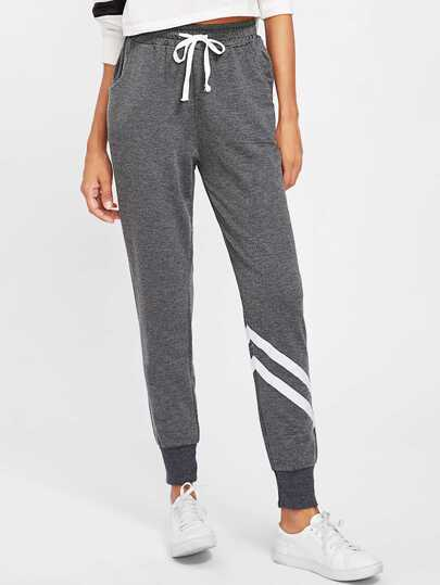 Drawstring Waist Striped Trim Sweatpants