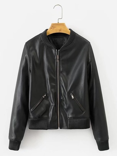 Ribbed Trim Faux Leather Jacket