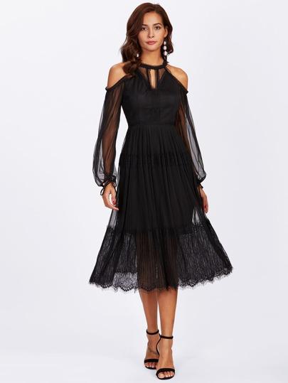Open Shoulder Cutout Front Mesh Overlay Eyelash Hem Dress