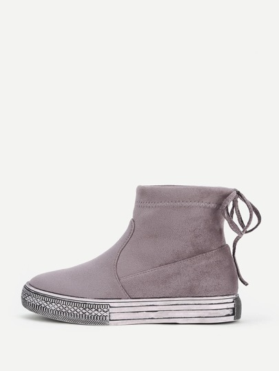 Lace Up Back Suede Ankle Boots
